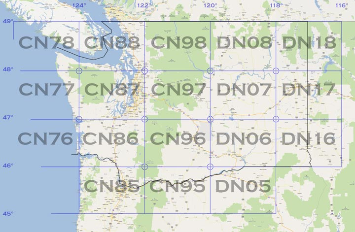 Map of grids in Washington